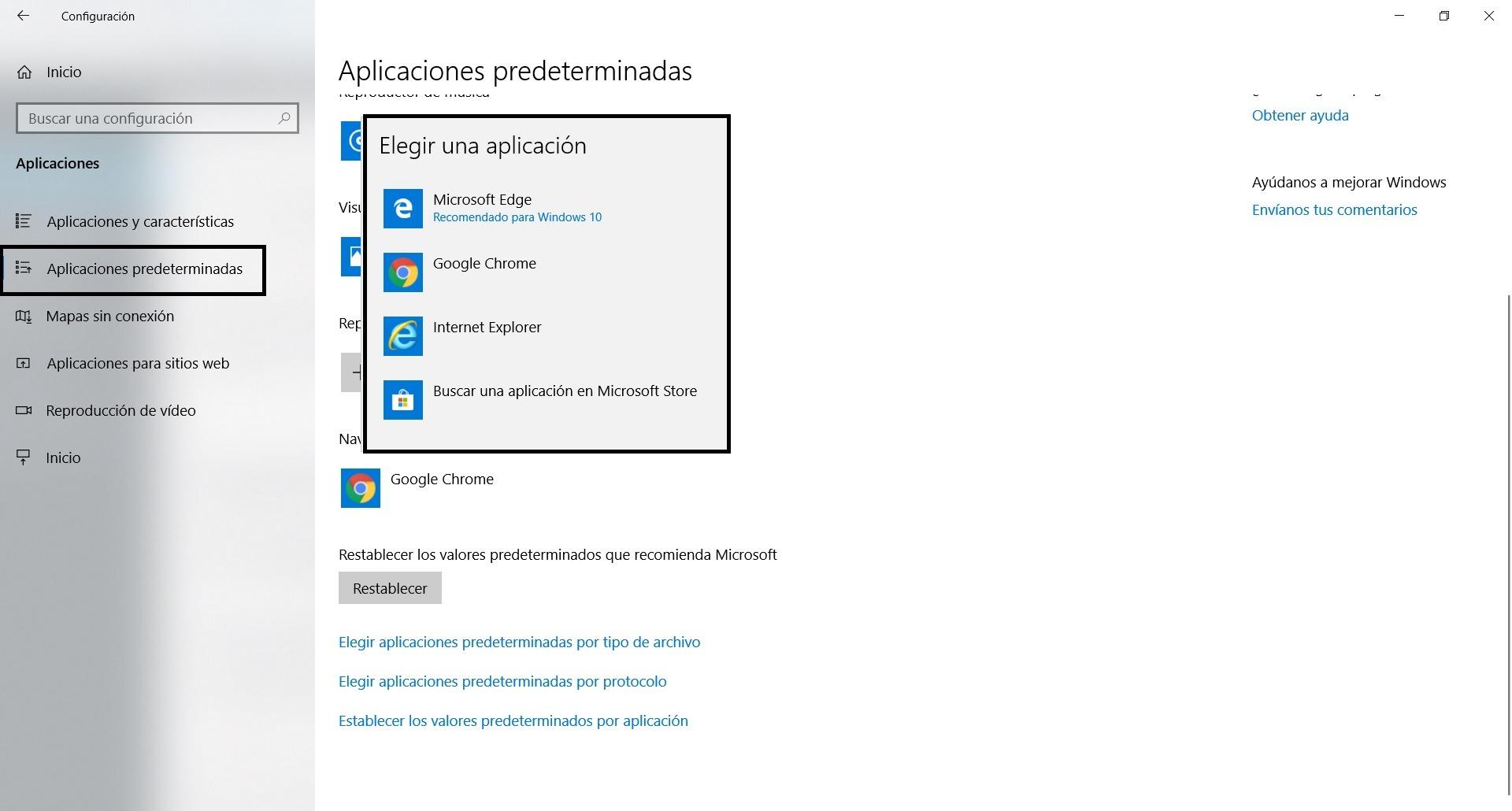 Windows 10 navegador